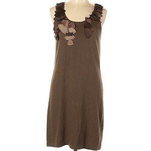 Banana Republic dress, large, brown, ruffle detail